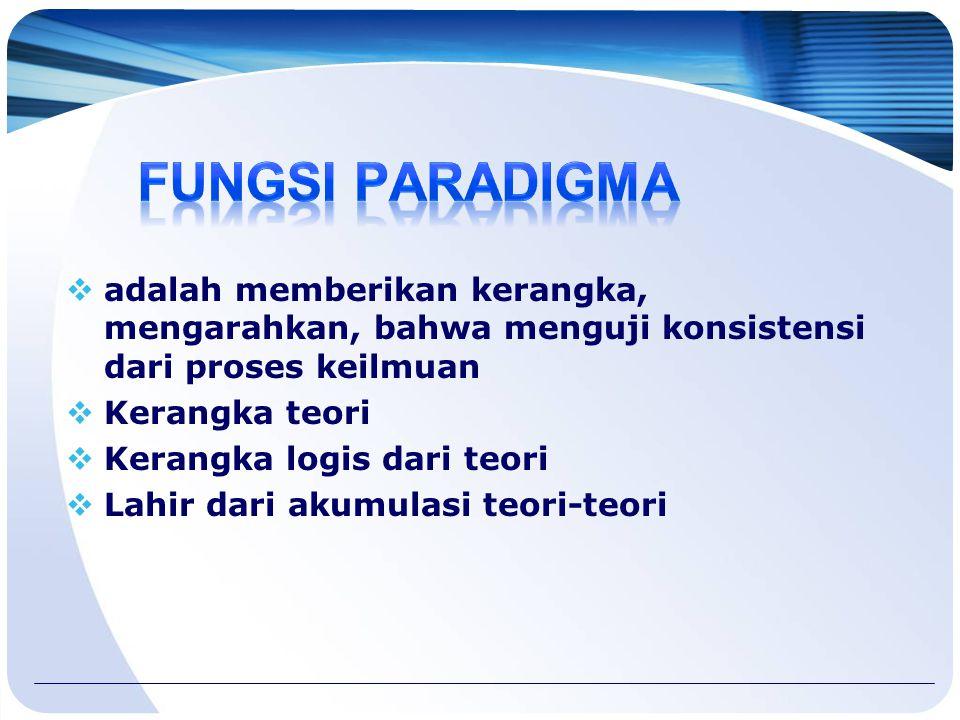 FUNGSI PARADIGMA adalah memberikan kerangka, mengarahkan, bahwa menguji konsistensi dari proses keilmuan.
