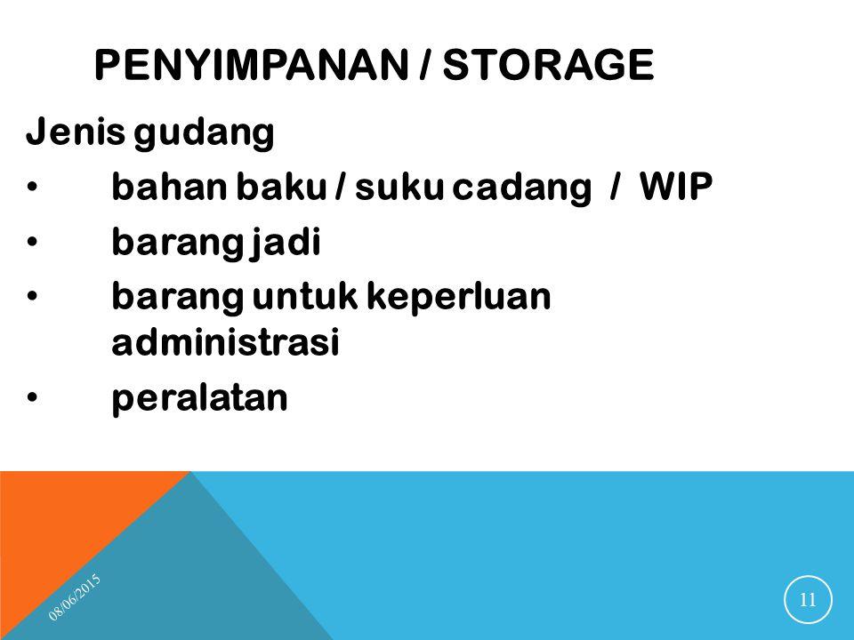 Penyimpanan / storage Jenis gudang bahan baku / suku cadang / WIP