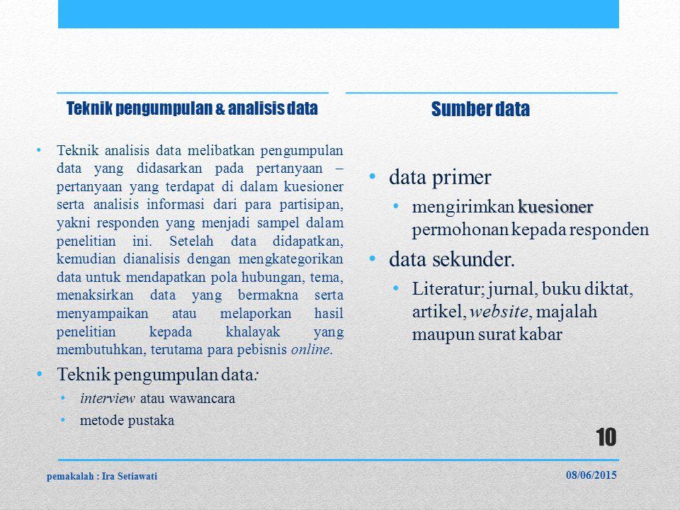 Teknik pengumpulan & analisis data