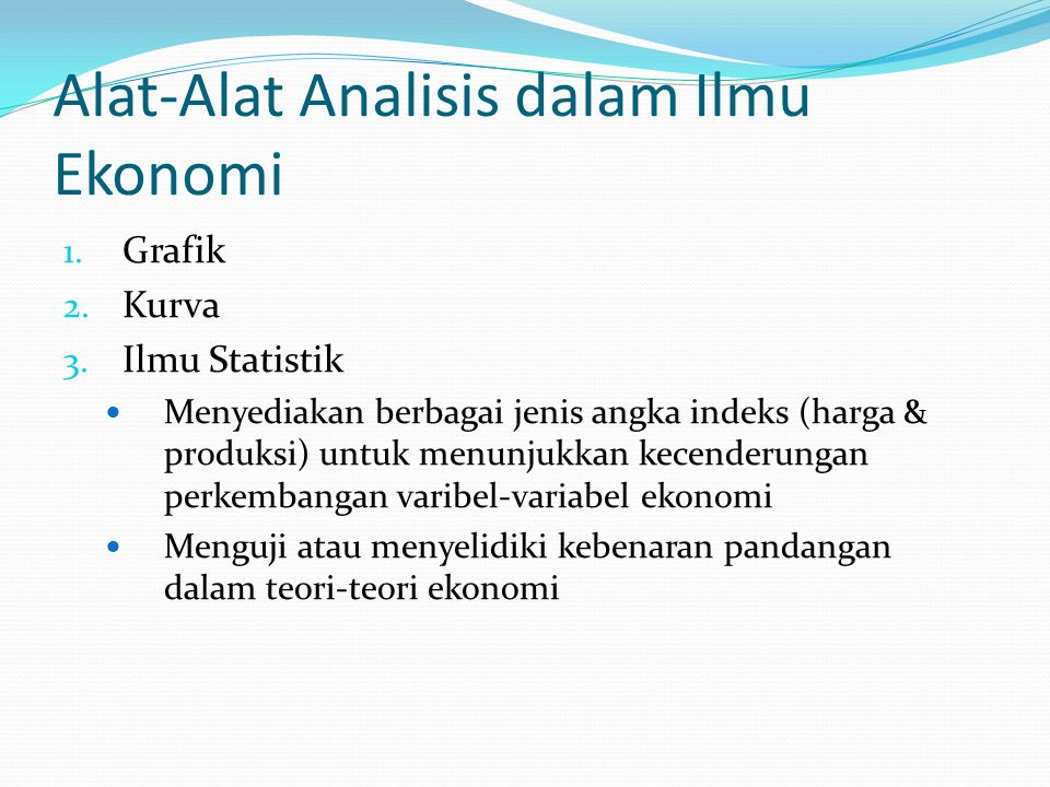 Alat-Alat Analisis dalam Ilmu Ekonomi
