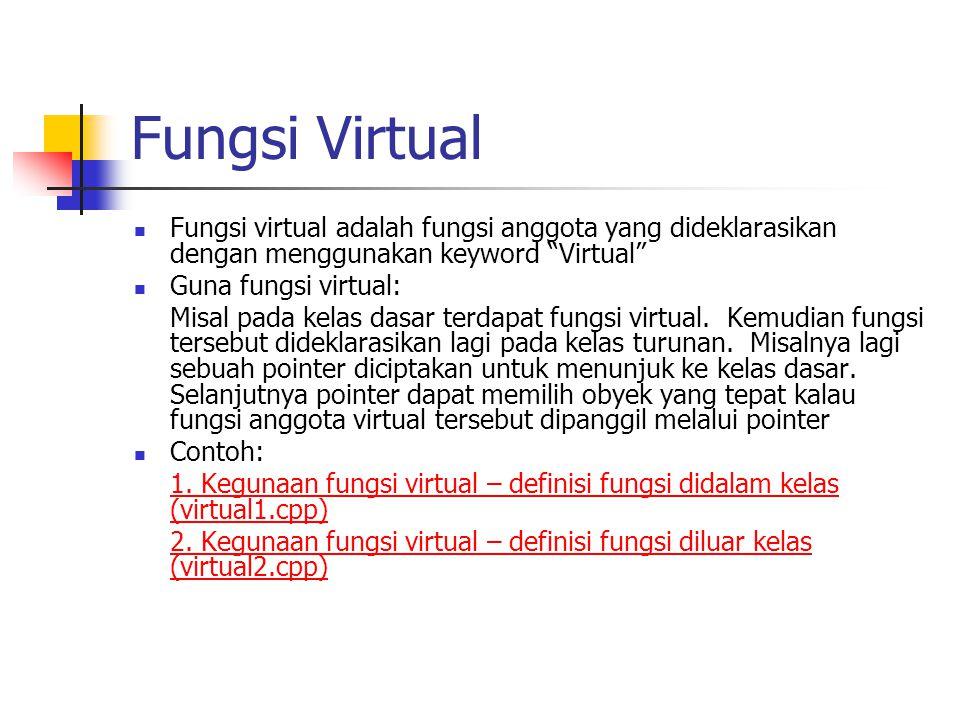Fungsi Virtual Fungsi virtual adalah fungsi anggota yang dideklarasikan dengan menggunakan keyword Virtual