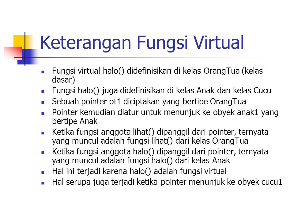 Keterangan Fungsi Virtual
