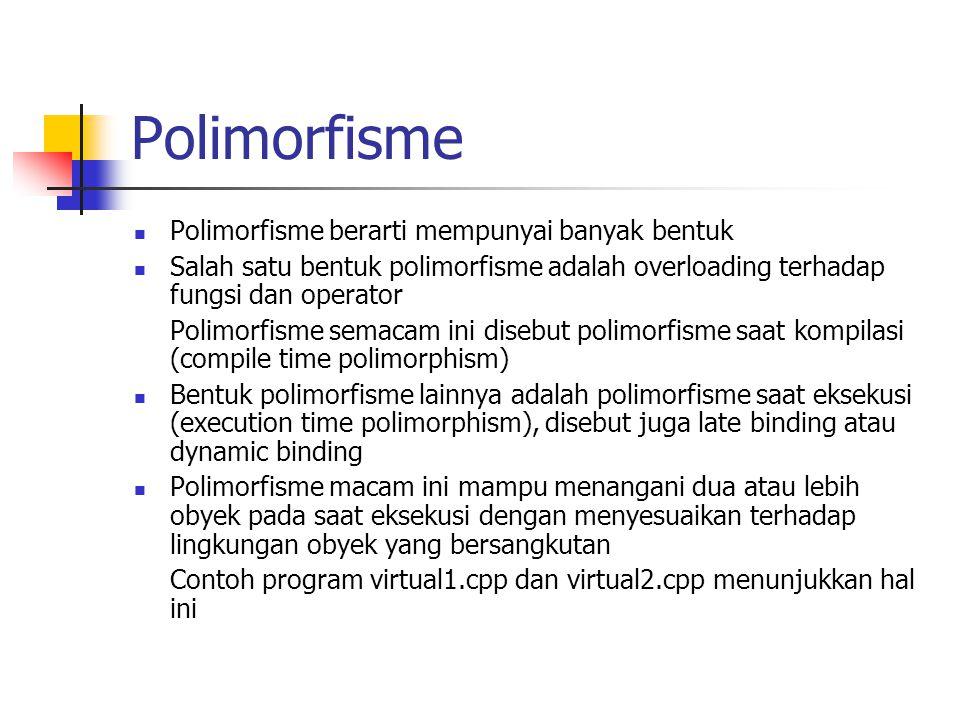 Polimorfisme Polimorfisme berarti mempunyai banyak bentuk