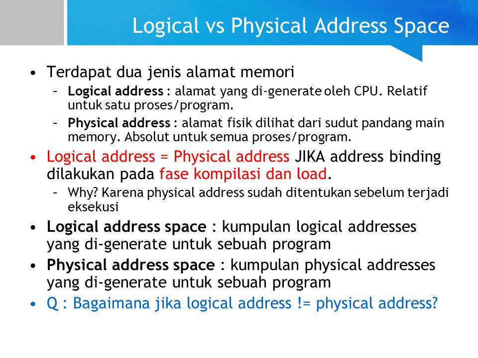 Logical vs Physical Address Space