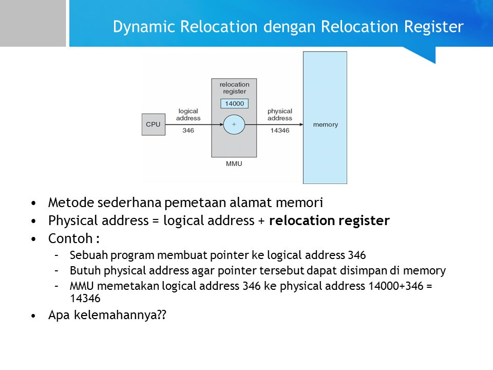 Dynamic Relocation dengan Relocation Register