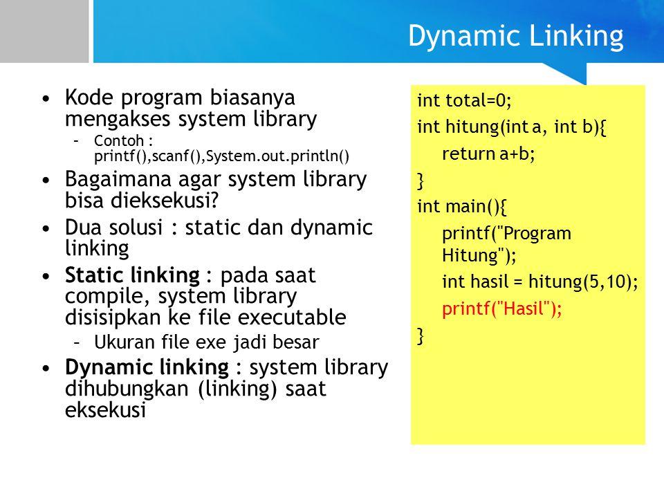 Dynamic Linking Kode program biasanya mengakses system library