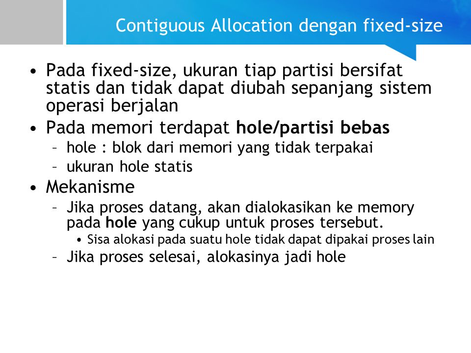 Contiguous Allocation dengan fixed-size