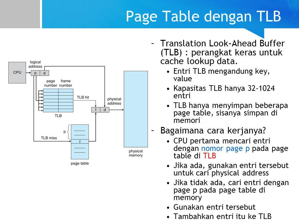 Page Table dengan TLB Translation Look-Ahead Buffer (TLB) : perangkat keras untuk cache lookup data.