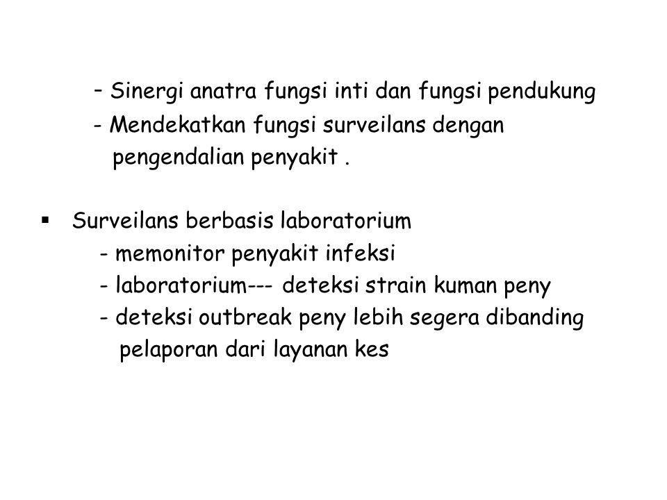 - Sinergi anatra fungsi inti dan fungsi pendukung