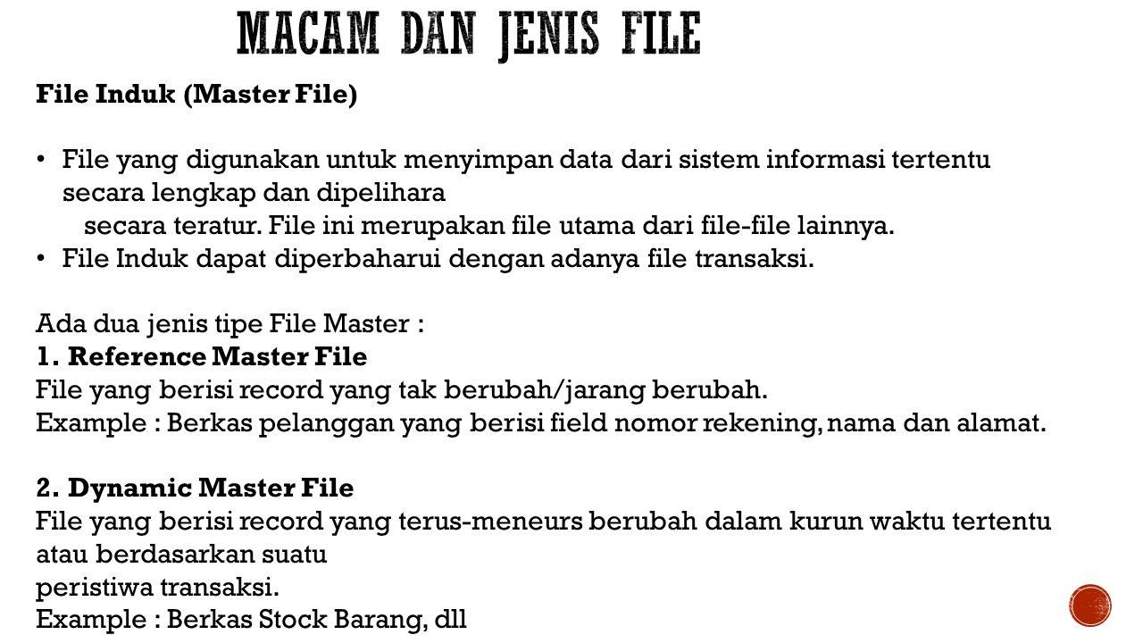 Macam dan Jenis File File Induk (Master File)