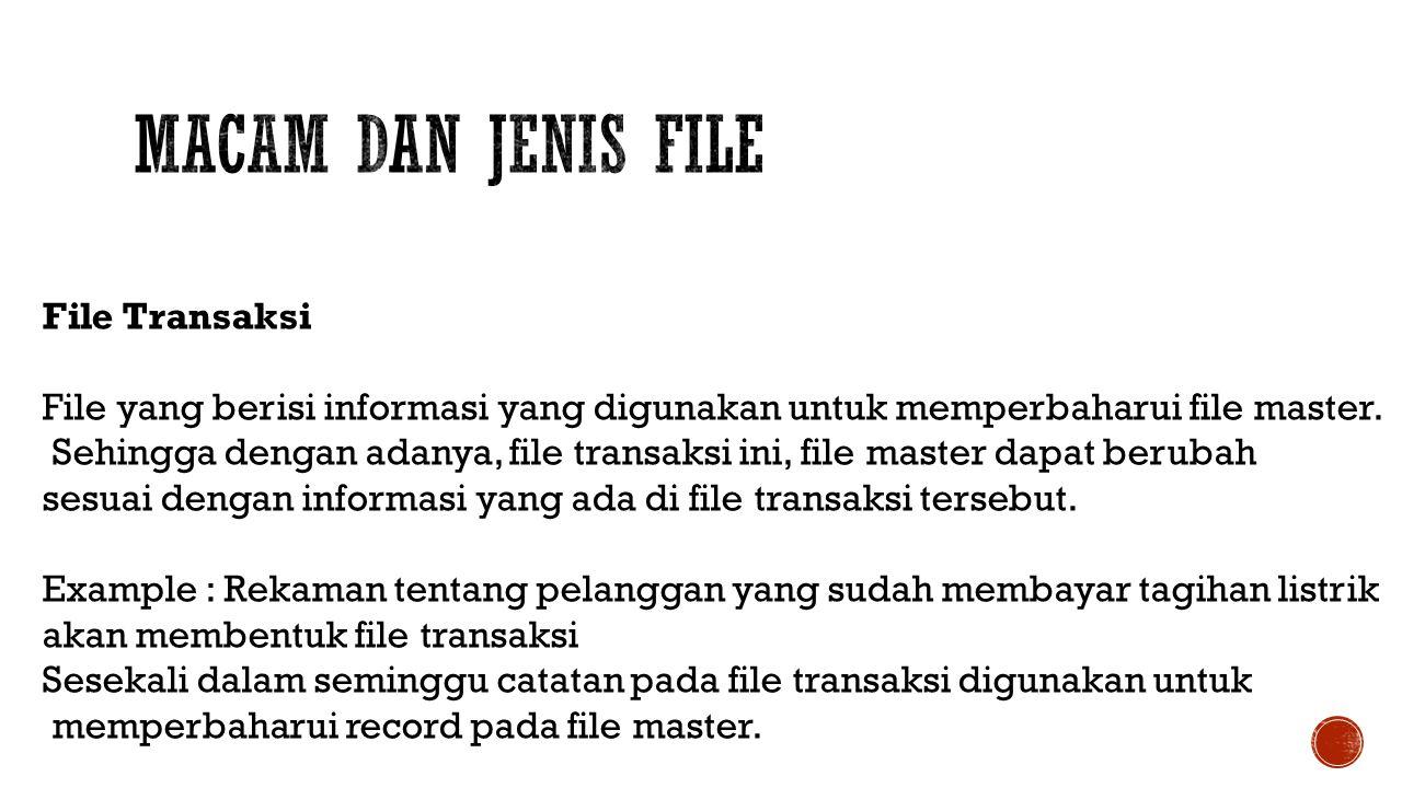 Macam dan Jenis File File Transaksi