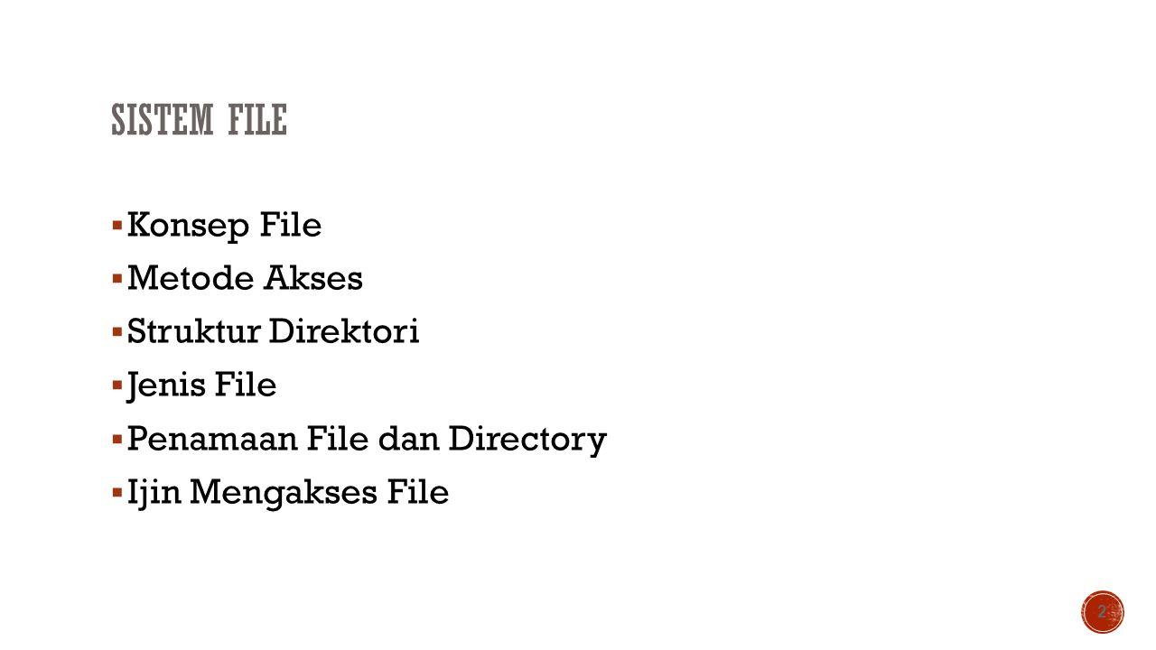 Sistem File Konsep File Metode Akses Struktur Direktori Jenis File