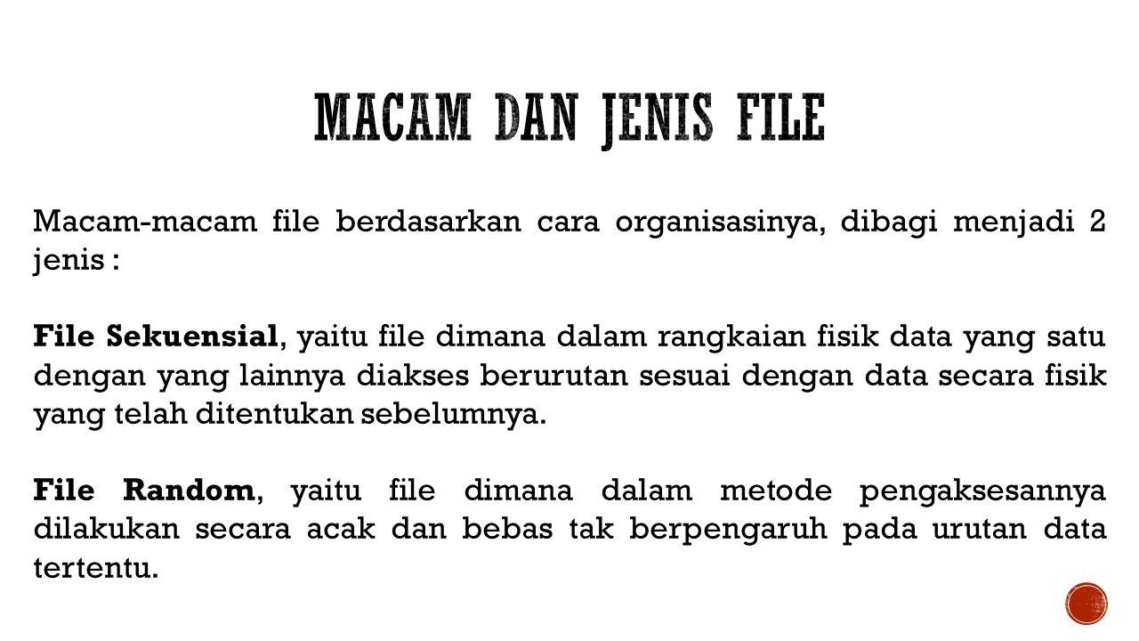 Macam dan Jenis File Macam-macam file berdasarkan cara organisasinya, dibagi menjadi 2 jenis :