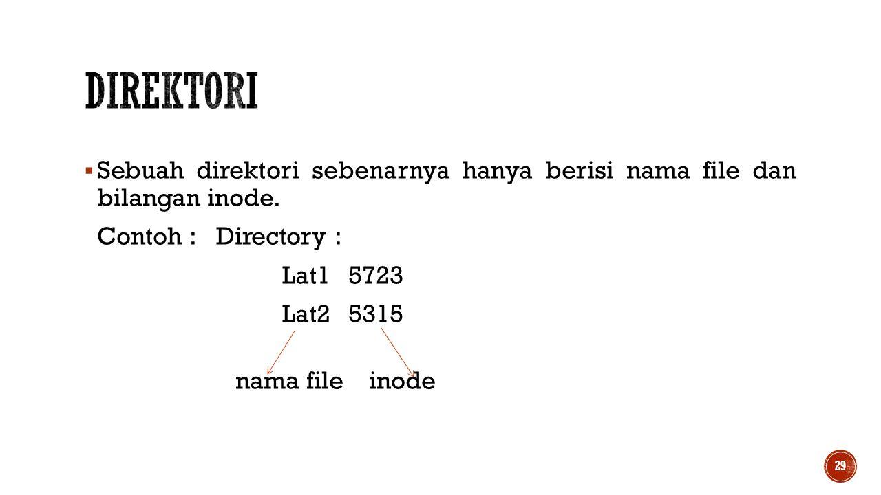 Direktori Sebuah direktori sebenarnya hanya berisi nama file dan bilangan inode. Contoh : Directory :