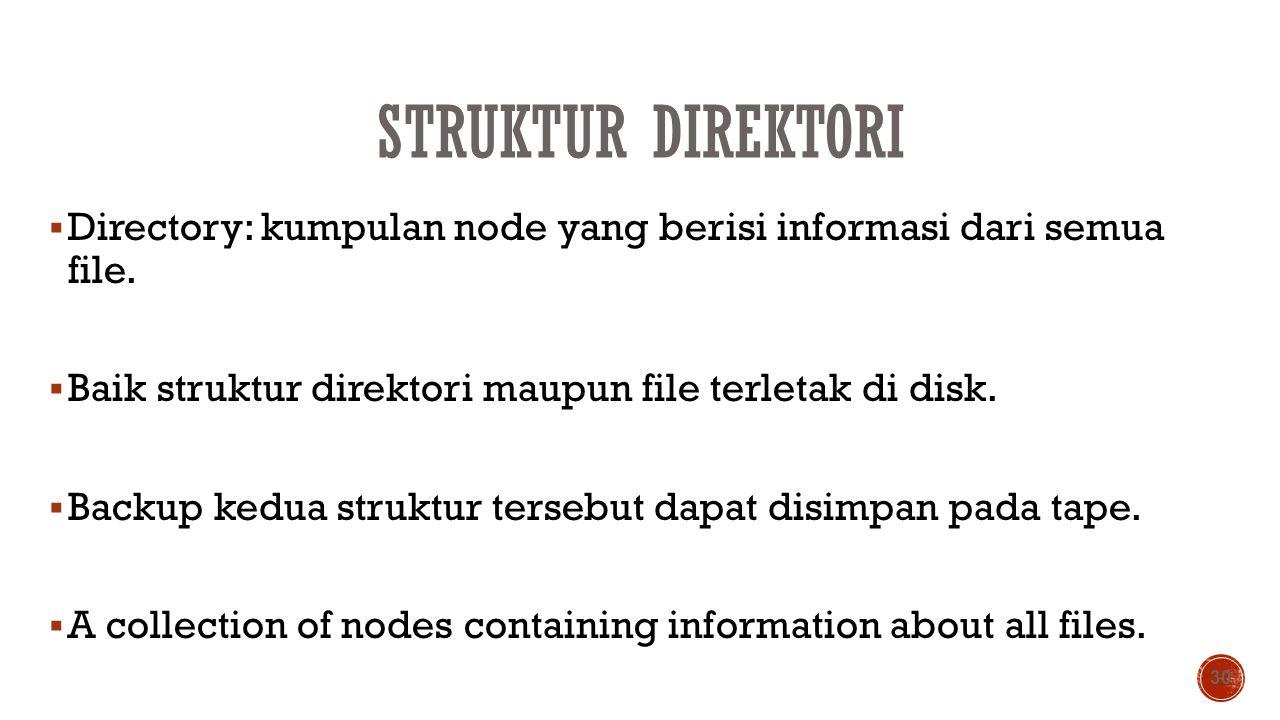 Struktur Direktori Directory: kumpulan node yang berisi informasi dari semua file. Baik struktur direktori maupun file terletak di disk.
