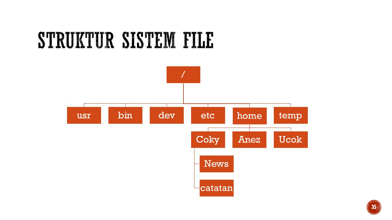 Struktur Sistem File / usr bin dev etc home Coky News catatan Anez