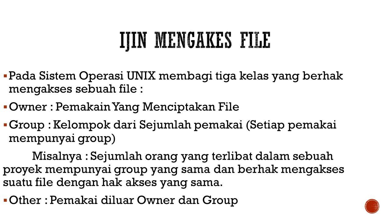 Ijin Mengakes File Pada Sistem Operasi UNIX membagi tiga kelas yang berhak mengakses sebuah file :