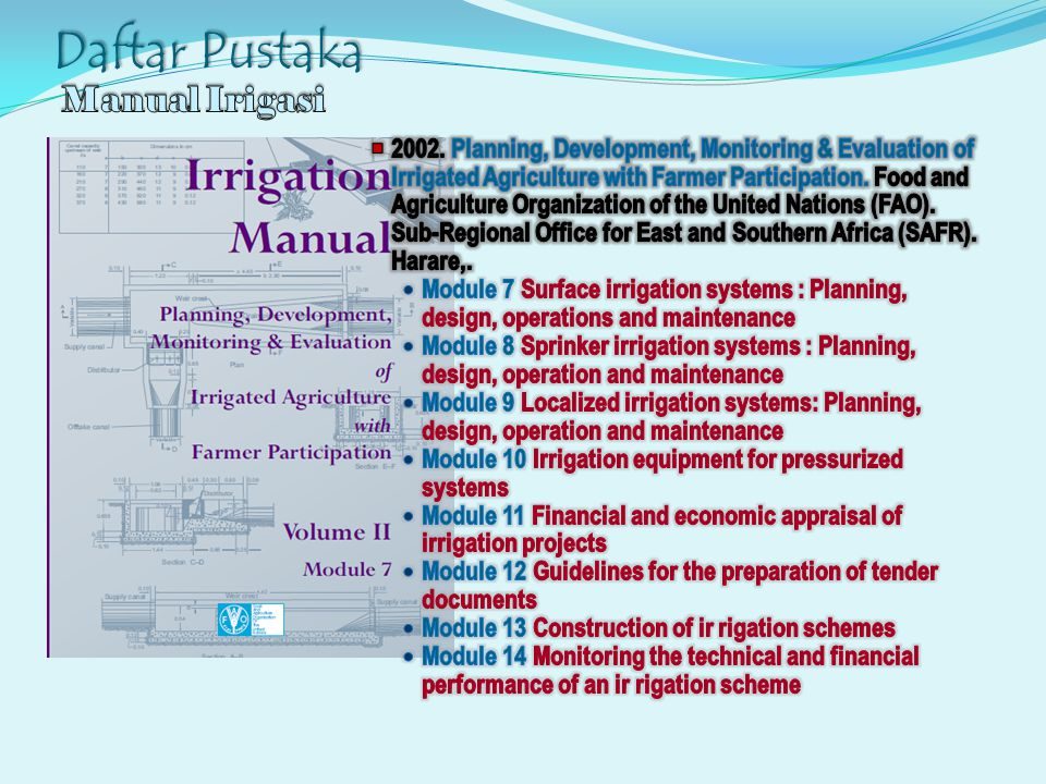 Daftar Pustaka Manual Irigasi