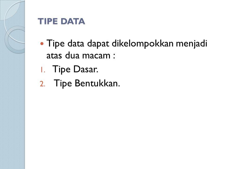 Tipe data dapat dikelompokkan menjadi atas dua macam : Tipe Dasar.