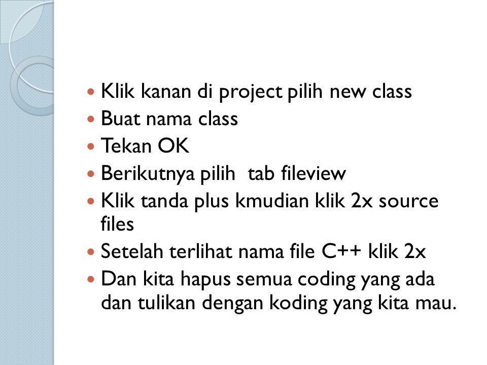 Klik kanan di project pilih new class