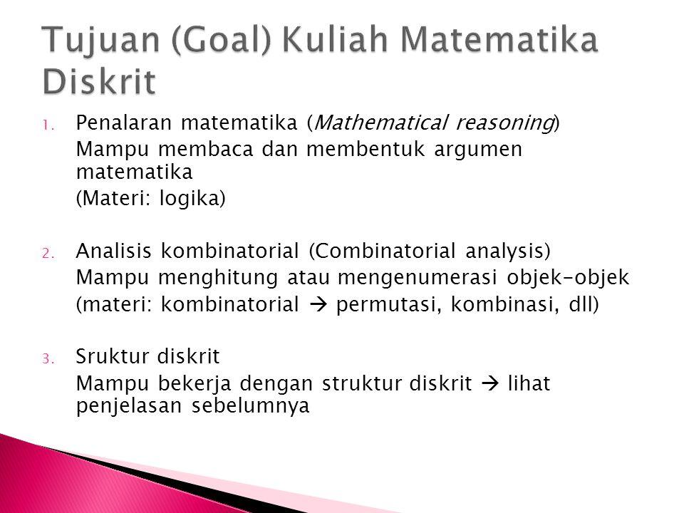 Tujuan (Goal) Kuliah Matematika Diskrit