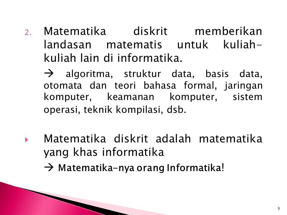 Matematika diskrit adalah matematika yang khas informatika