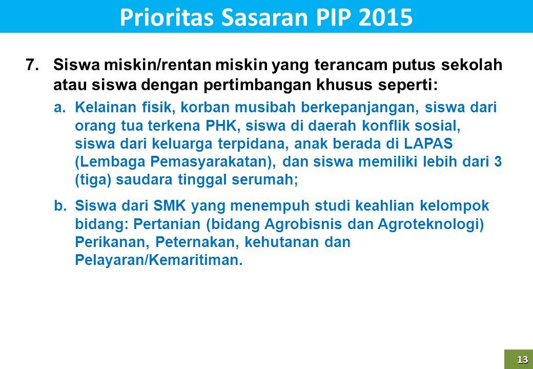 Prioritas Sasaran PIP 2015 Siswa miskin/rentan miskin yang terancam putus sekolah atau siswa dengan pertimbangan khusus seperti: