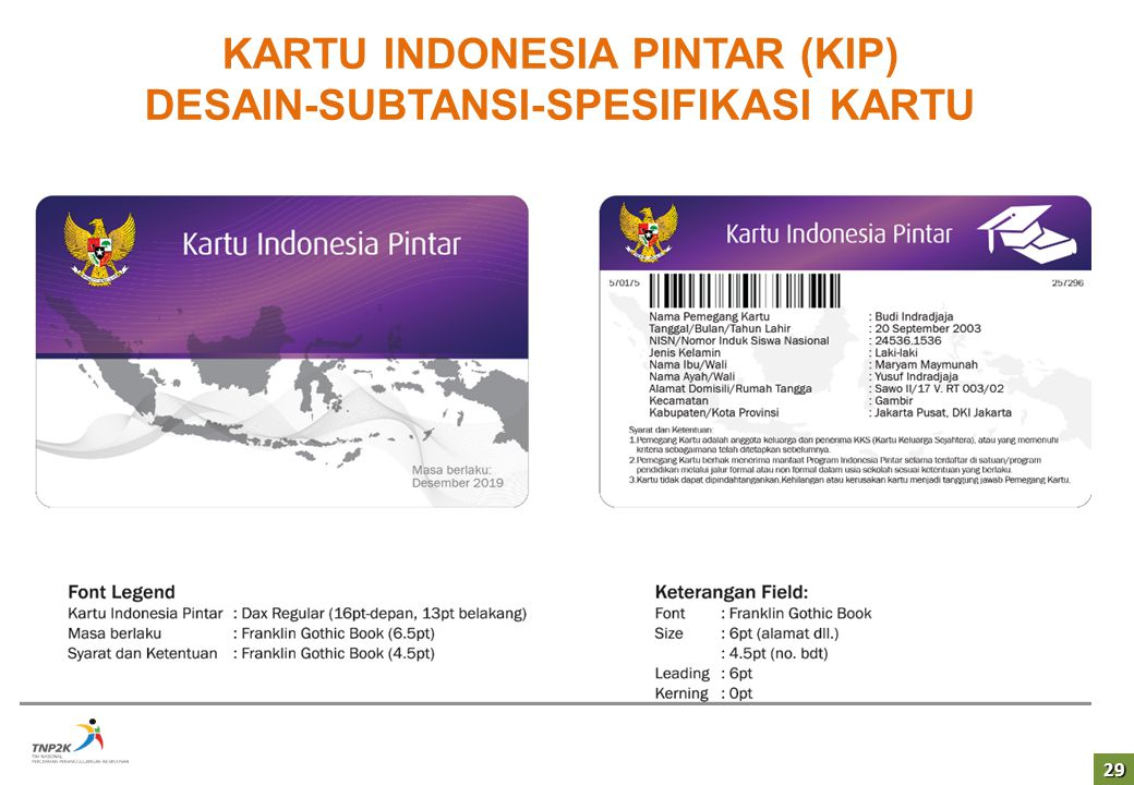 KARTU INDONESIA PINTAR (KIP) DESAIN-SUBTANSI-SPESIFIKASI KARTU