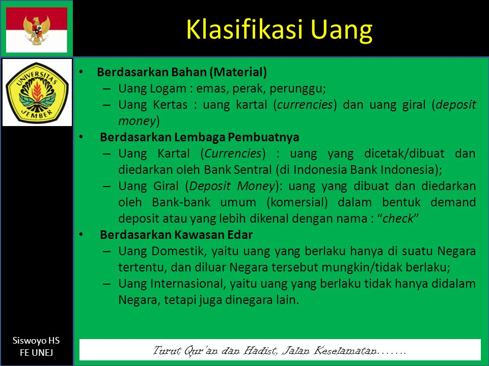 Klasifikasi Uang Berdasarkan Bahan (Material)