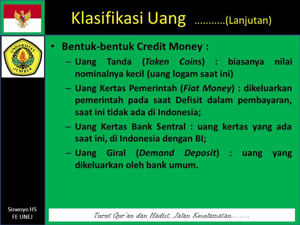 Klasifikasi Uang ...........(Lanjutan)