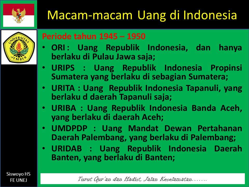 Macam-macam Uang di Indonesia