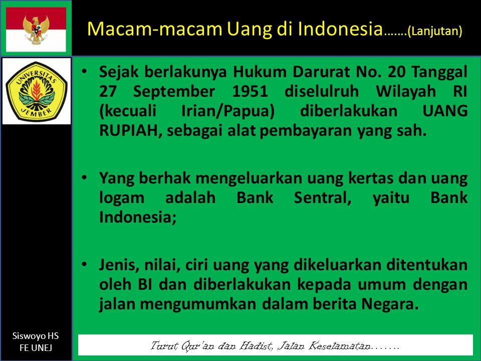 Macam-macam Uang di Indonesia.......(Lanjutan)