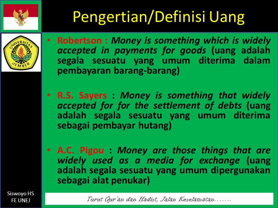 Pengertian/Definisi Uang