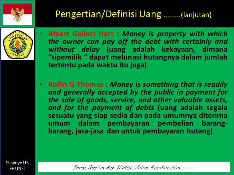 Pengertian/Definisi Uang .........(lanjutan)