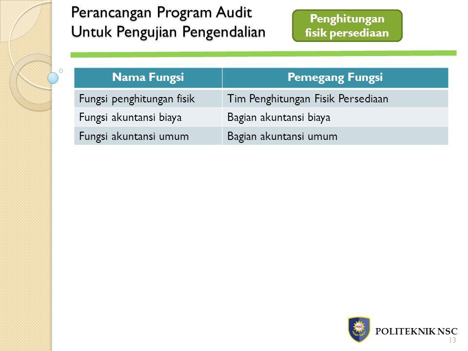 Perancangan Program Audit Untuk Pengujian Pengendalian