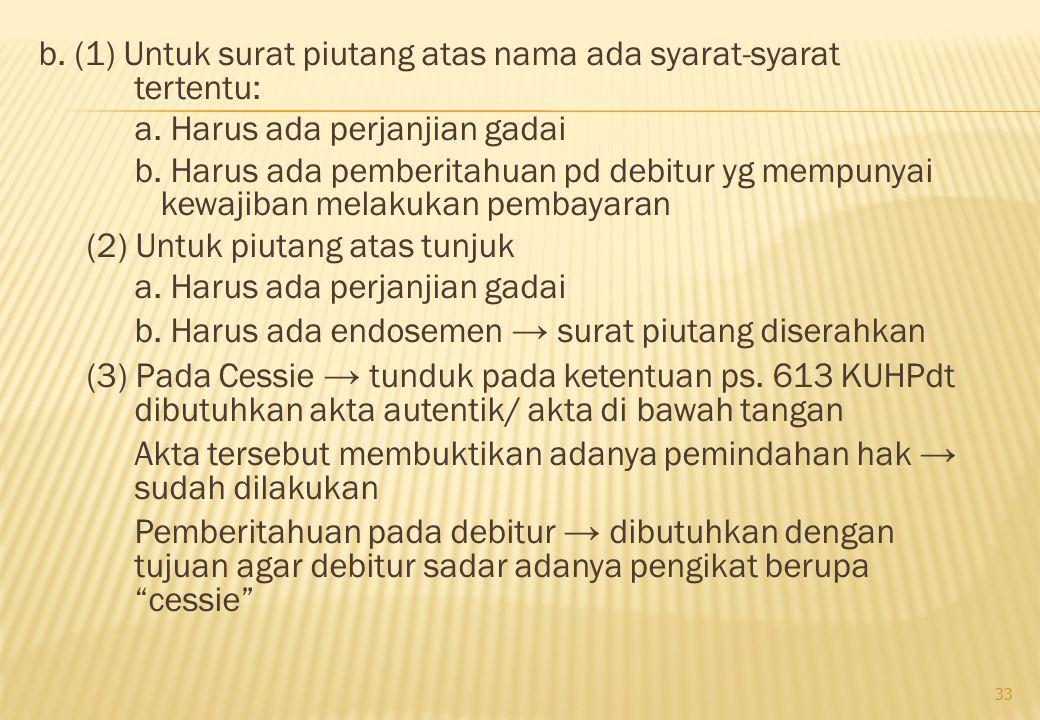 b. (1) Untuk surat piutang atas nama ada syarat-syarat tertentu: a