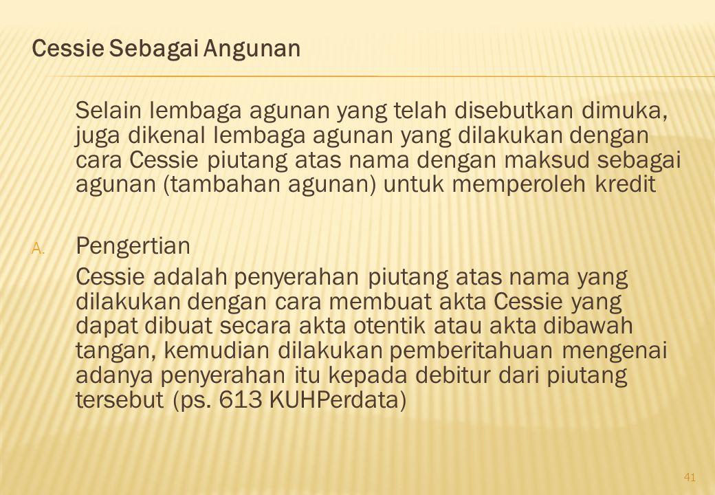 Cessie Sebagai Angunan
