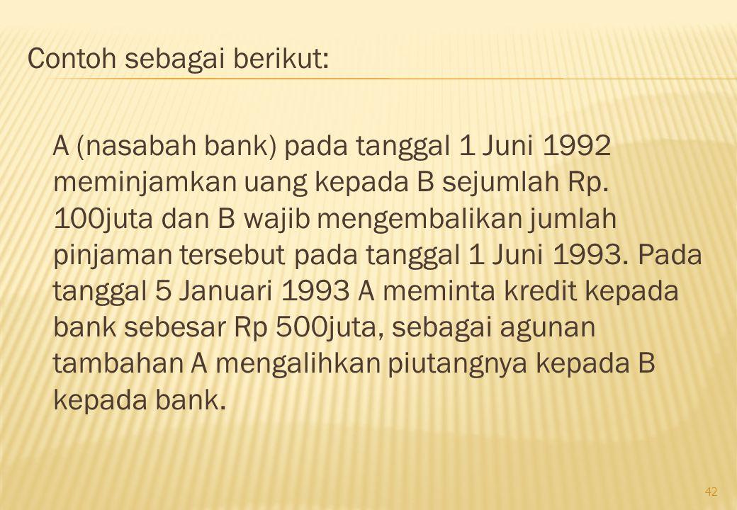 Contoh sebagai berikut: A (nasabah bank) pada tanggal 1 Juni 1992 meminjamkan uang kepada B sejumlah Rp.