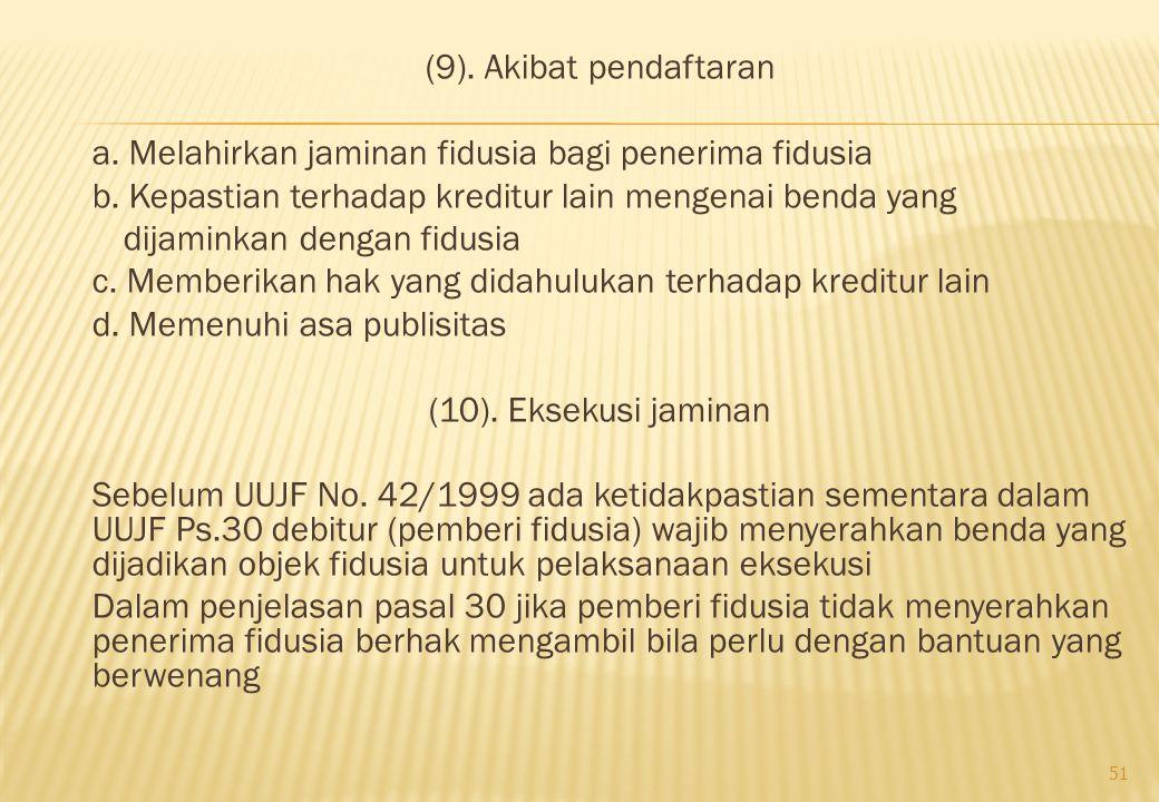 (9). Akibat pendaftaran a