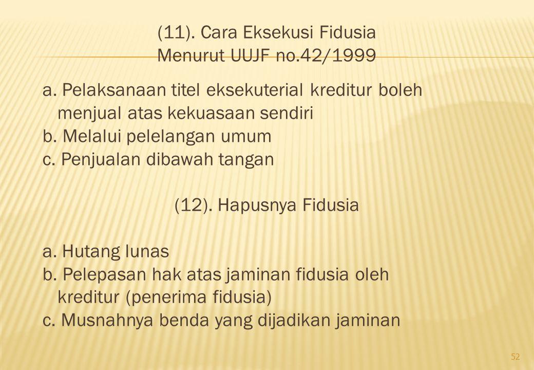 (11). Cara Eksekusi Fidusia Menurut UUJF no. 42/1999 a
