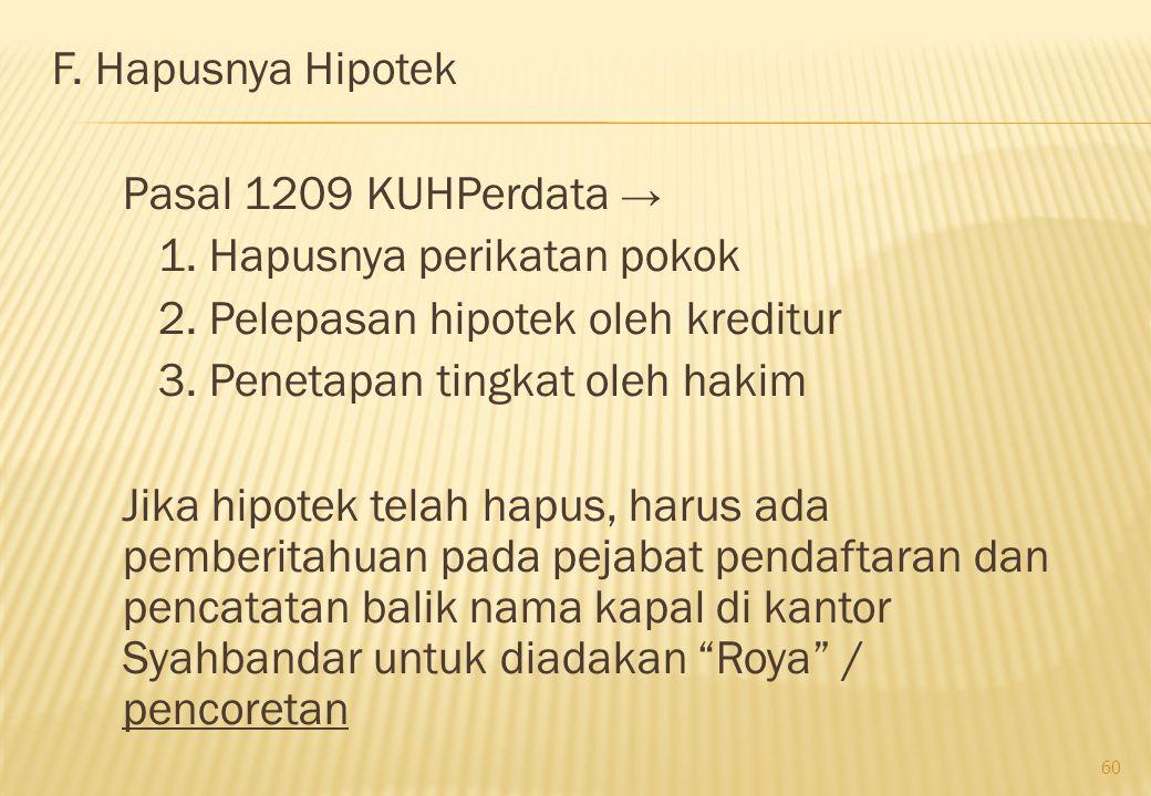 F. Hapusnya Hipotek Pasal 1209 KUHPerdata → 1. Hapusnya perikatan pokok. 2. Pelepasan hipotek oleh kreditur.