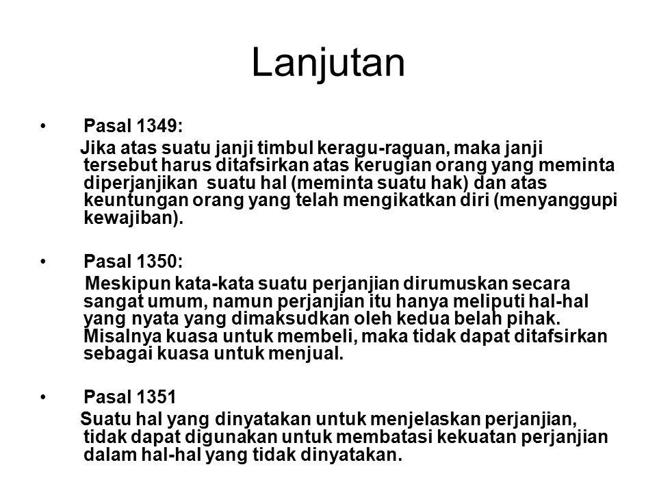 Lanjutan Pasal 1349: