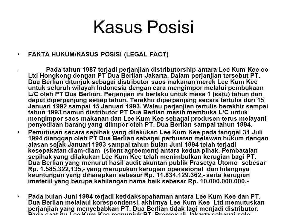 Kasus Posisi FAKTA HUKUM/KASUS POSISI (LEGAL FACT)
