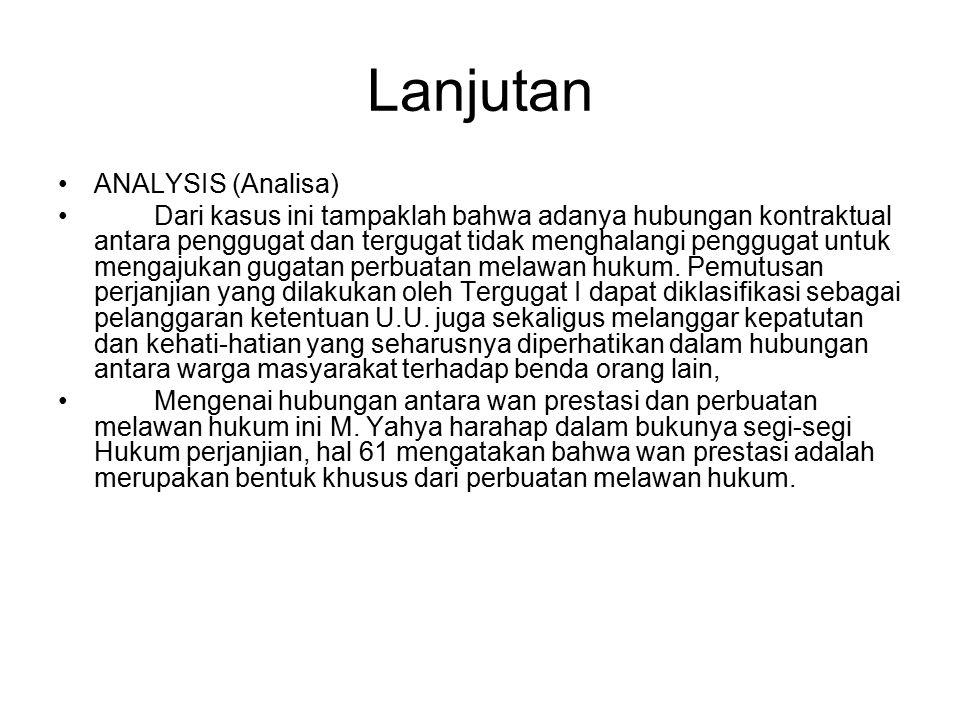 Lanjutan ANALYSIS (Analisa)