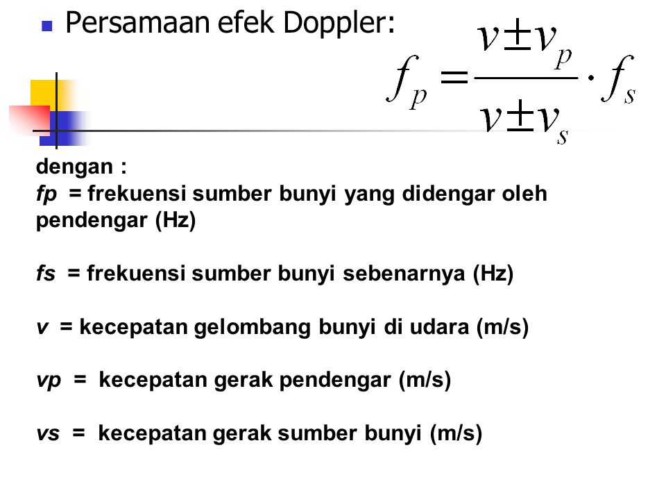 Persamaan efek Doppler: