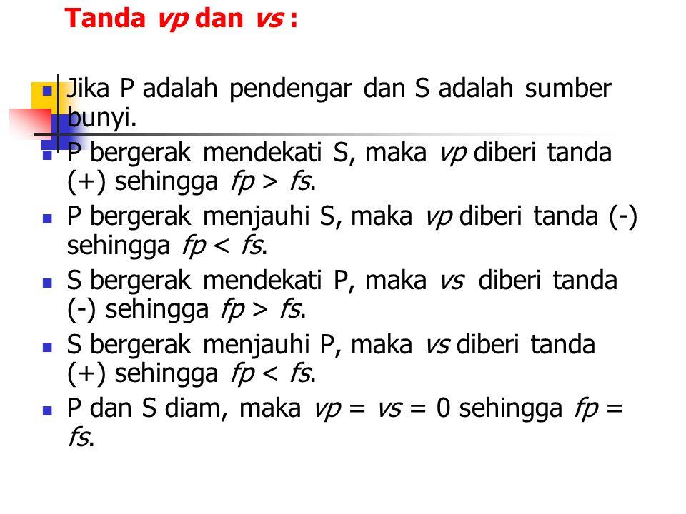 Tanda vp dan vs : Jika P adalah pendengar dan S adalah sumber bunyi. P bergerak mendekati S, maka vp diberi tanda (+) sehingga fp > fs.