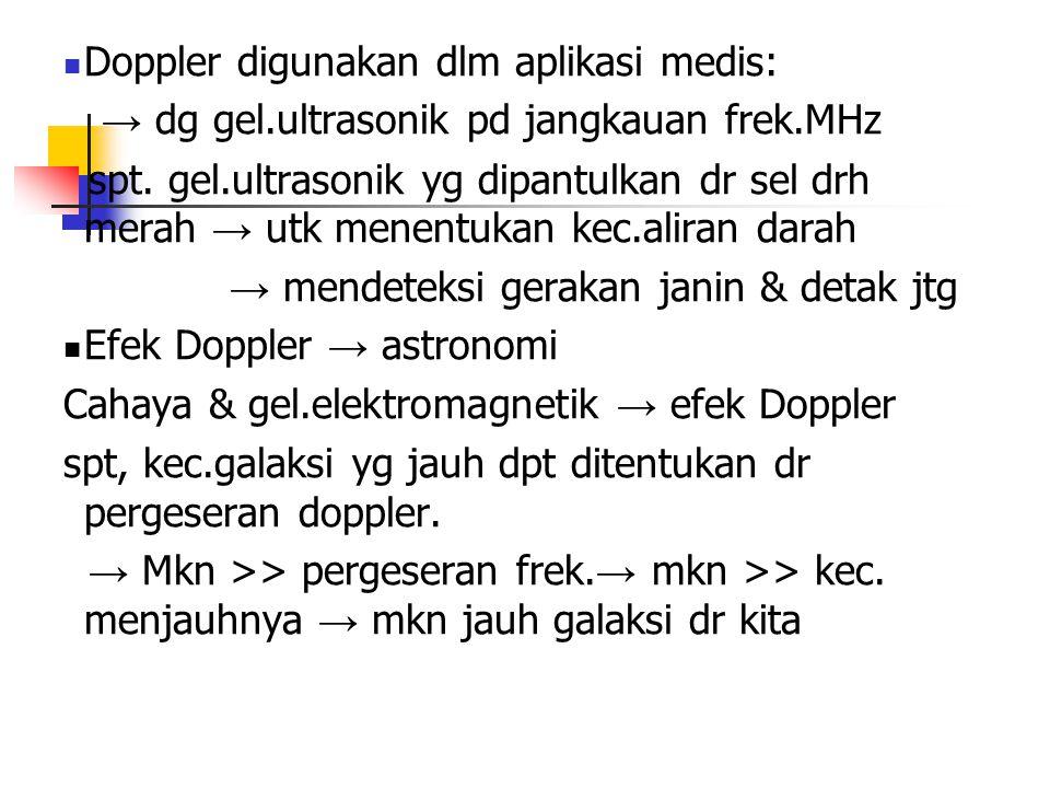 Doppler digunakan dlm aplikasi medis: