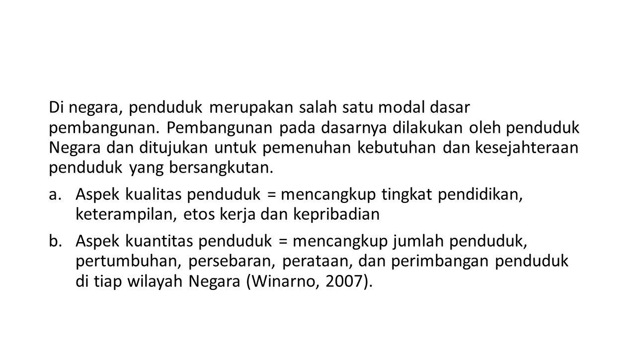 Di negara, penduduk merupakan salah satu modal dasar pembangunan
