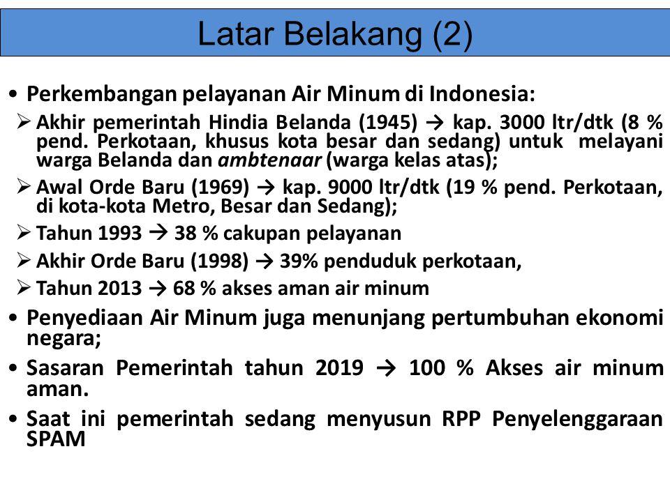 Latar Belakang (2) Perkembangan pelayanan Air Minum di Indonesia: