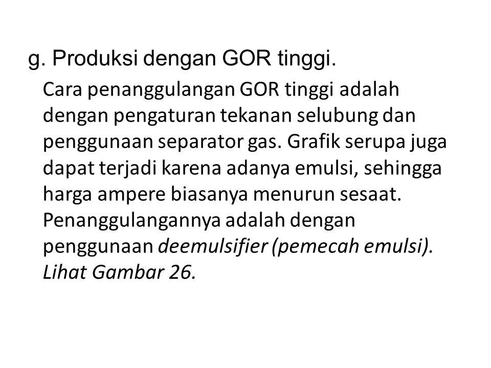 g. Produksi dengan GOR tinggi.
